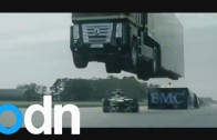 World record: Giant truck jumps over car