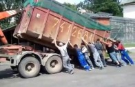 Dump truck tipping over
