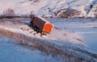 Russian Truck Sliding on Snow – Insane Driver